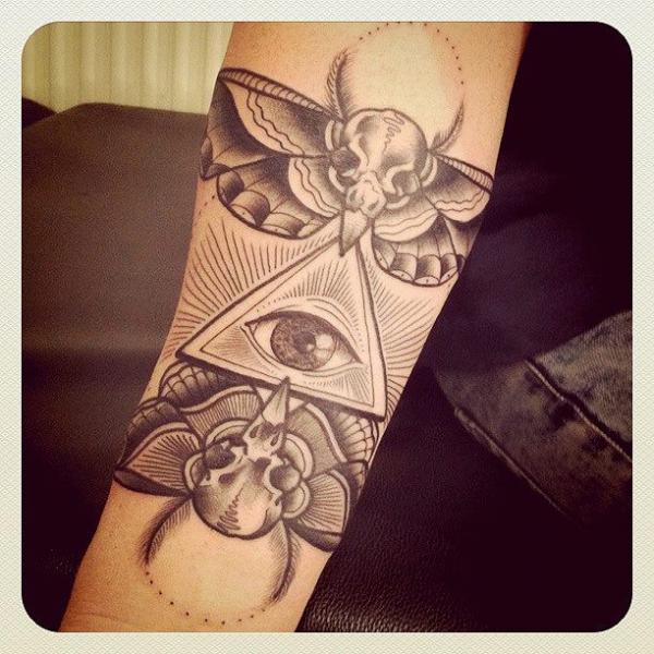 Sculls Moth Eye of Providence tattoo by Sarah B Bolen