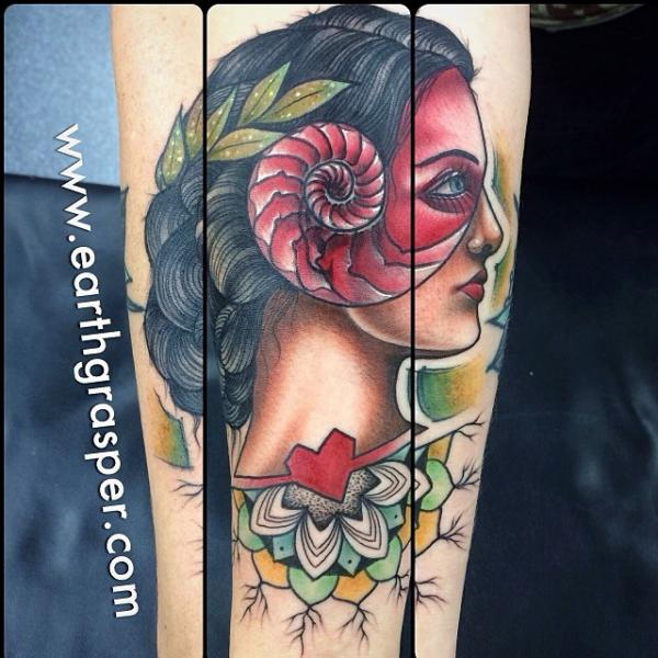 Shell Head Girl tattoo by Earth Gasper Tattoo