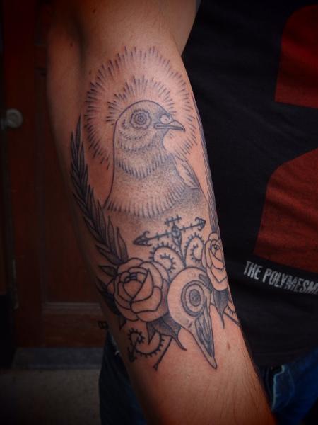 Shining Dove Dotwork tattoo by Papanatos Tattoos