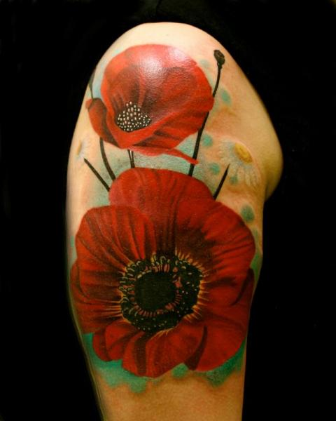 Shoulder Red Poppies tattoo