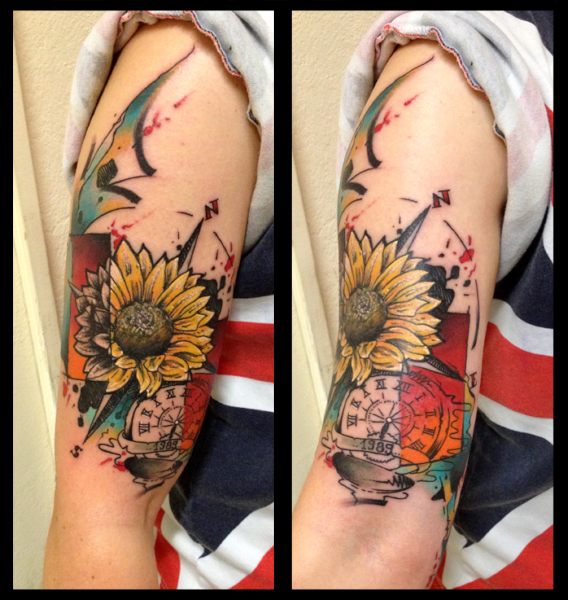Shoulder Sunflower Compass tattoo by Live Two