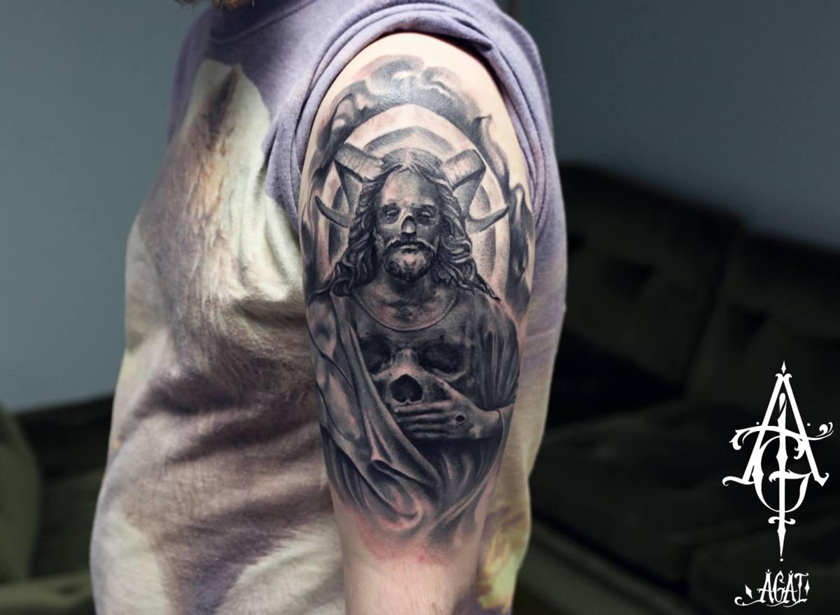Skull Ram Jesus tattoo by Agat Artemji