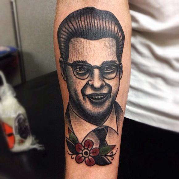 Smiling Man Old School tattoo by Matt Cooley