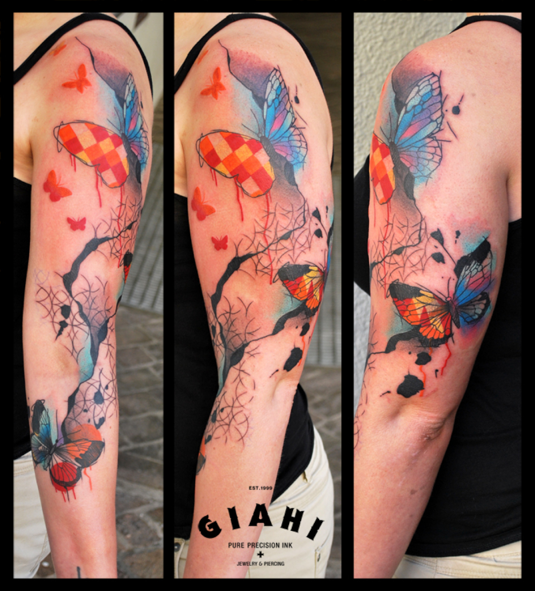 Squared Wings Butterflies tattoo by Live Two