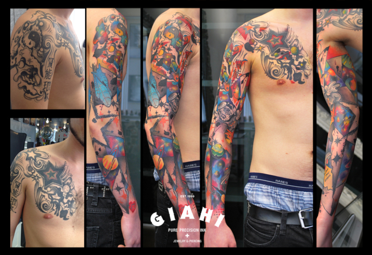 Stars Colorful Cover Up tattoo sleeve by Live Two
