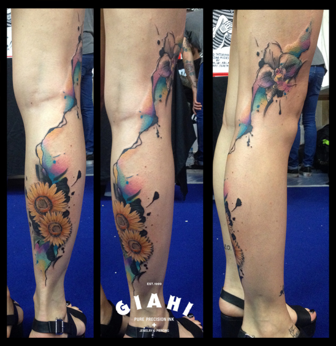 Sunflowers Leg tattoo by Live Two