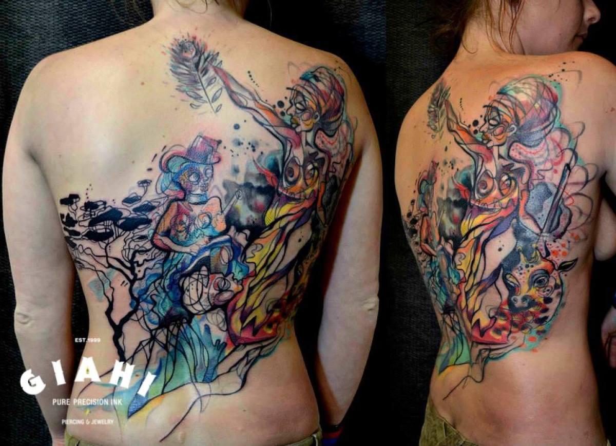 Surrealistic Ladies Aquarelle tattoo by Petra Hlavàckovà
