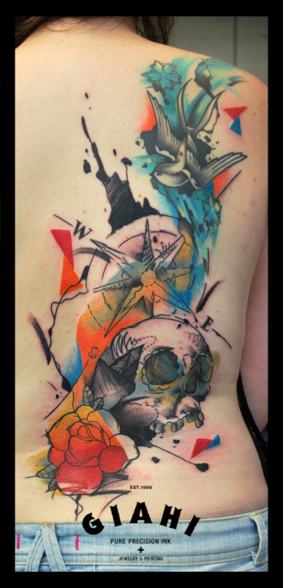 Swallow Compass Skull Naurical Aquarelle tattoo by Live Two