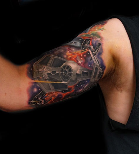 TIE Fighter Star Wars tattoo by Andres Acosta