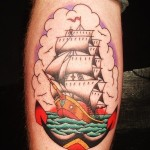 Traditional Sailing Ship and Anchor Nautical tattoo