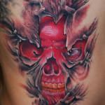 Under Skin Red Skull 3D tattoo by Szilard
