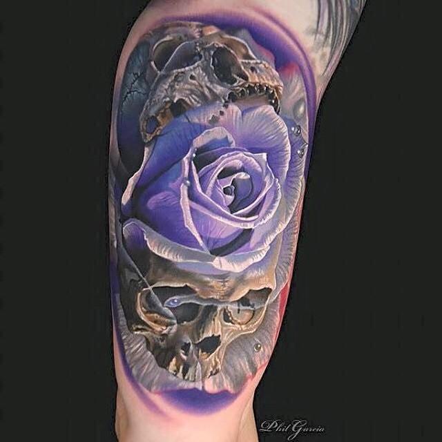 Violet Rose Skulls tattoo by Phil Garcia