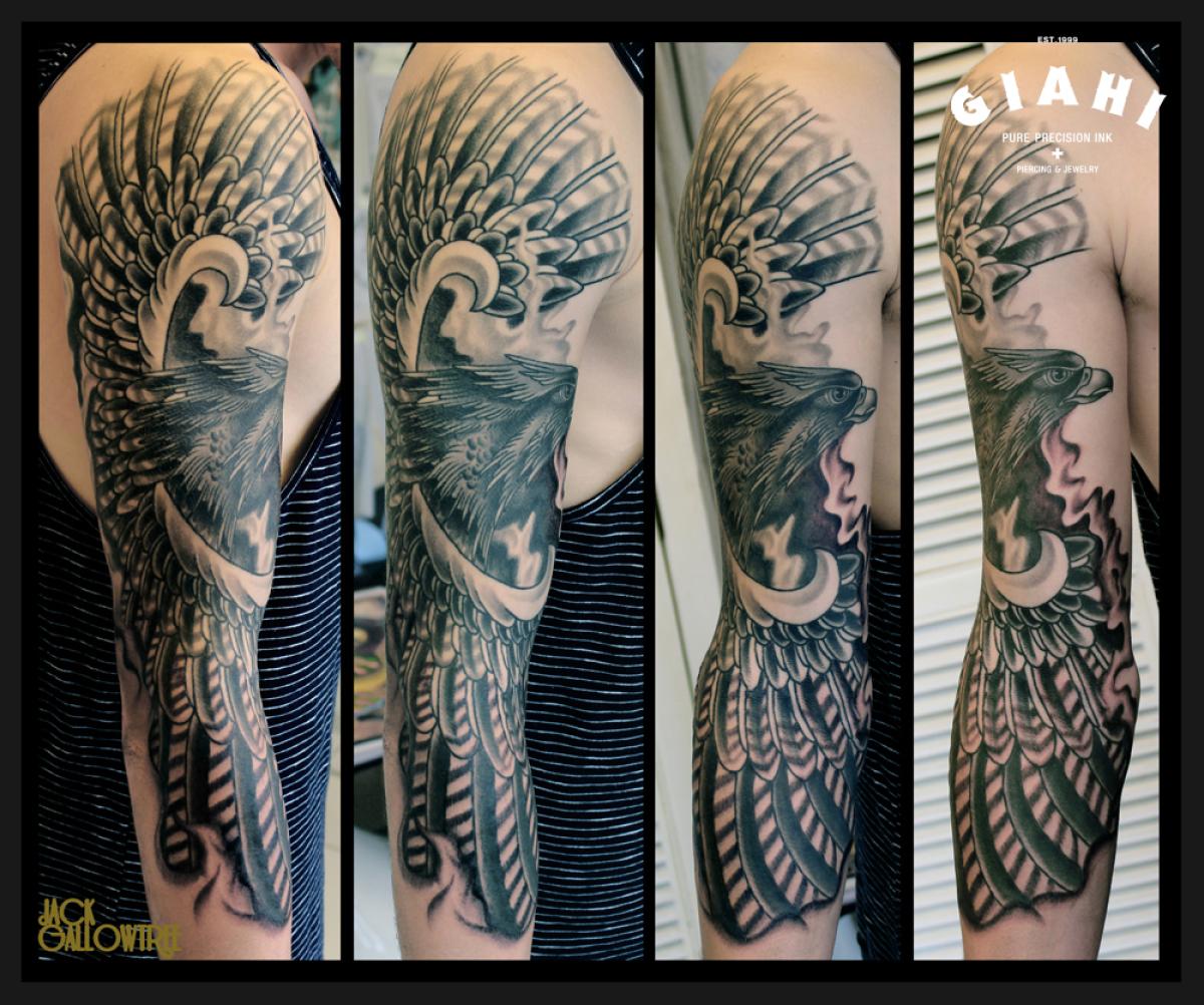 Wide wings Hawk Blackwork tattoo by Jack Gallowtree