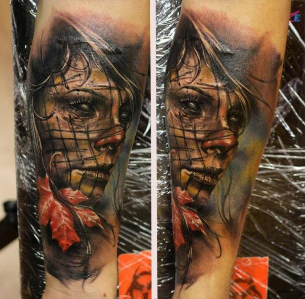 Yellow Leaf Creepy Clown Girl tattoo by Bloodlines Gallery