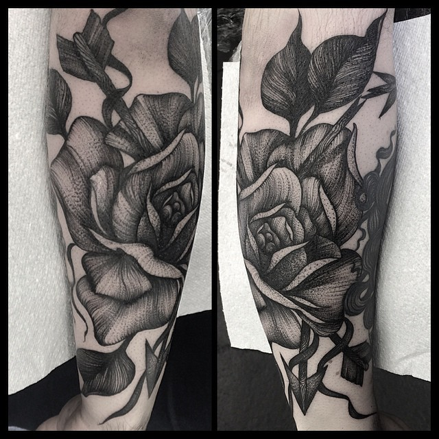 Arrows and Rose Wrist tattoo