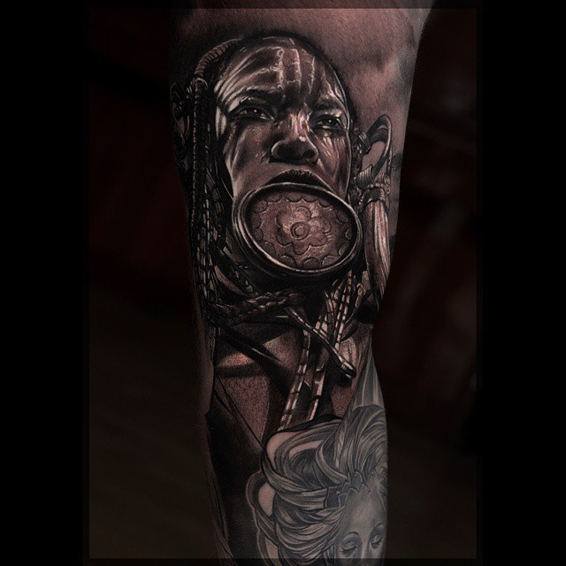 Black & Grey Realistic Tribe Woman tattoo by Pavel Roch