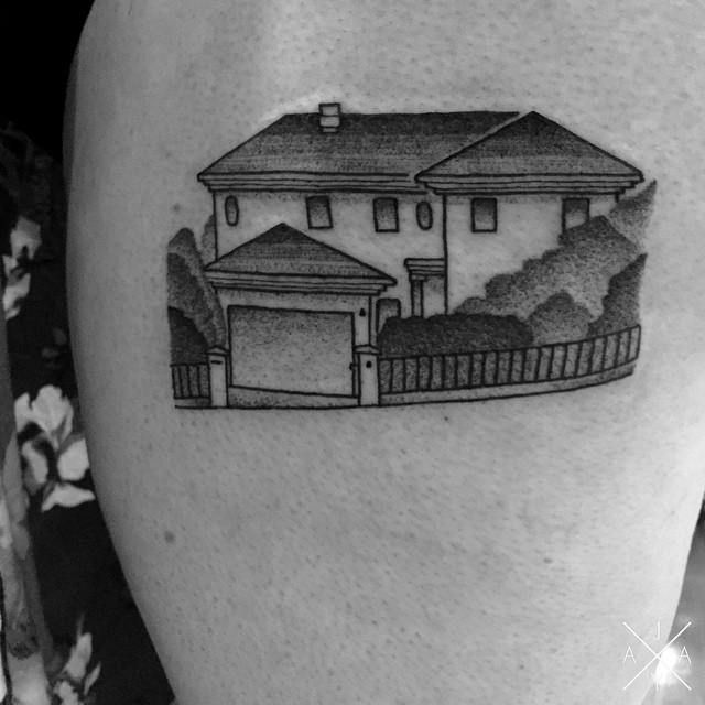 Childhood house Shoulder tattoo