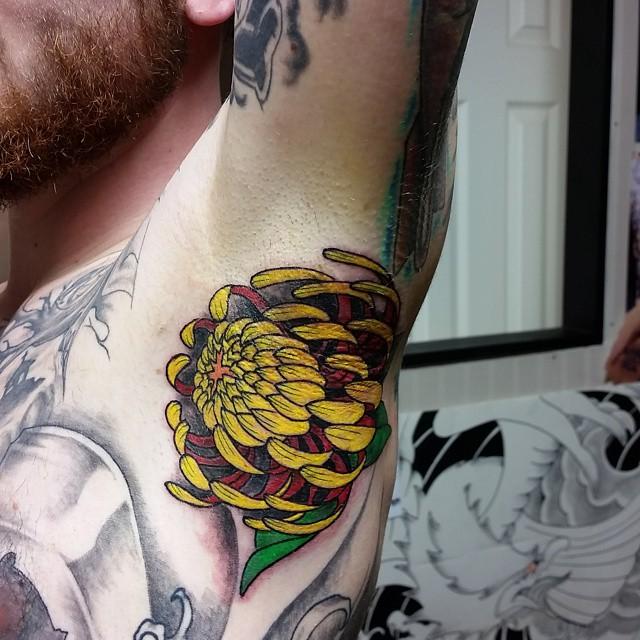 Cute Flower Arm Pit tattoo by Delan Canclini
