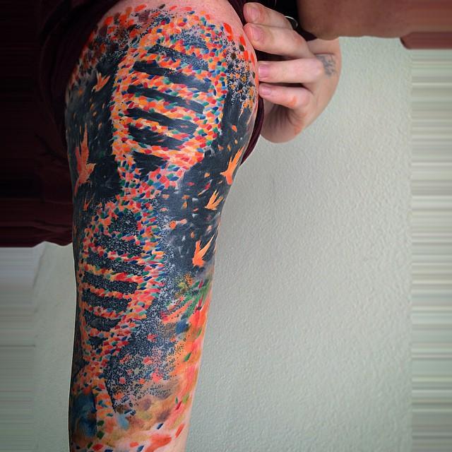 DNA Watercolor Shoulder tattoo by Ondrash Tattoo