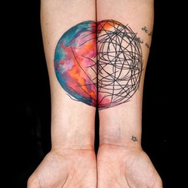 Drawn Watercolor Planet tattoo