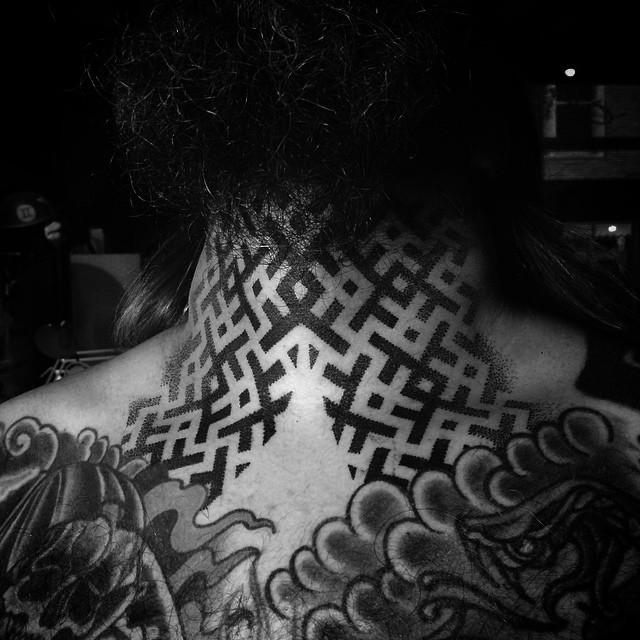 Ethnic Dotwork Neck tattoo by MXW Tattoo