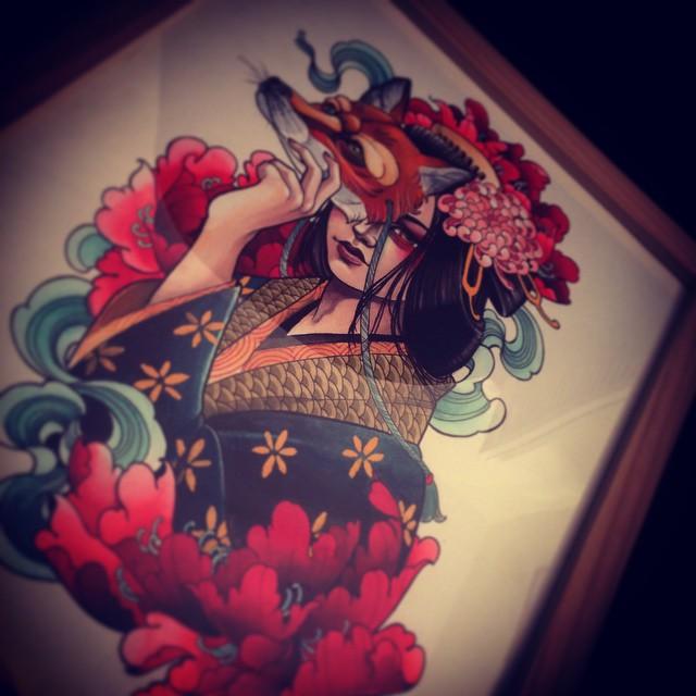 Fox Mask Girl Tattoo idea by