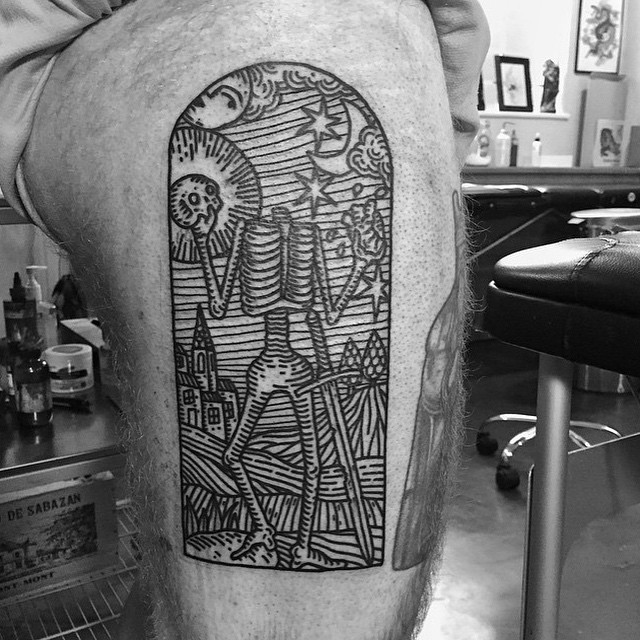 Headless Skeleton Thigh tattoo