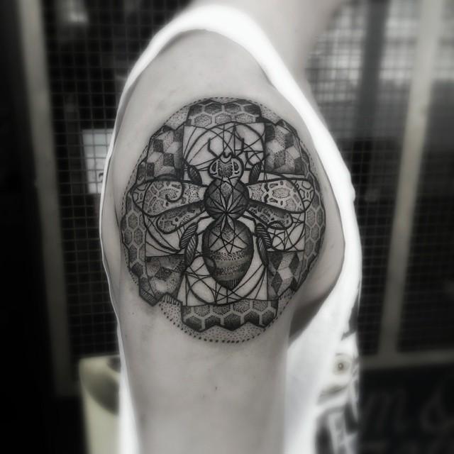 Manchester Bee Dotwork tattoo by Paul Davies