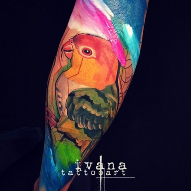 Rainbow Colorful Parrot tattoo by Ivana Tattoo Art