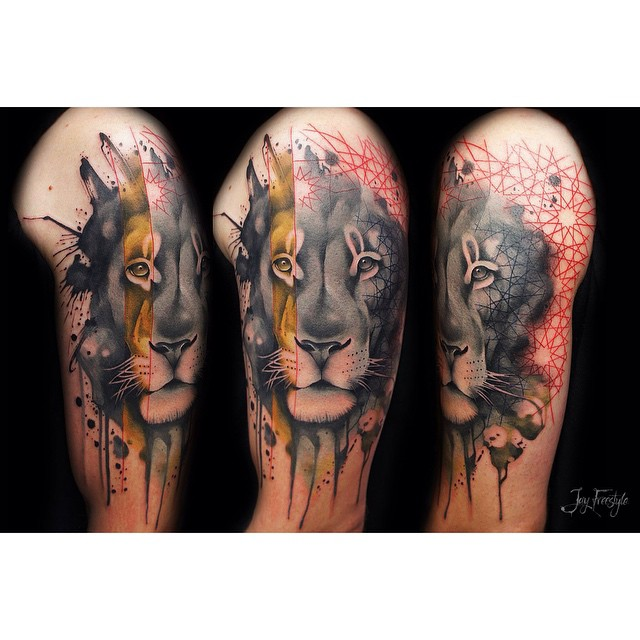 Realistic Watercolor Lion