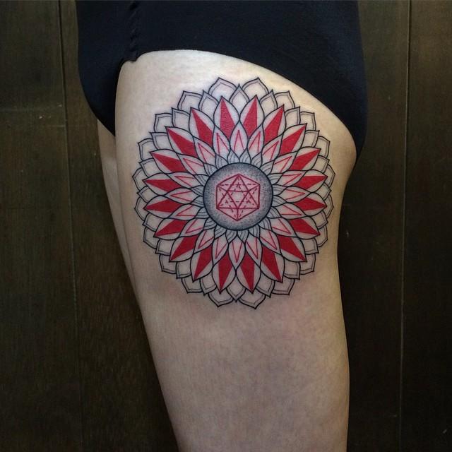 Red Petals Maldala tattoo on Thigh