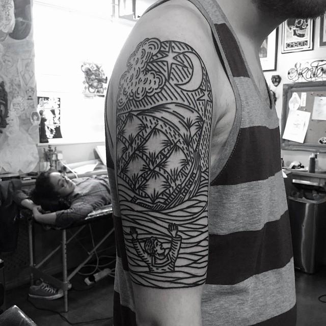 Sinking Man Shoulder tattoo