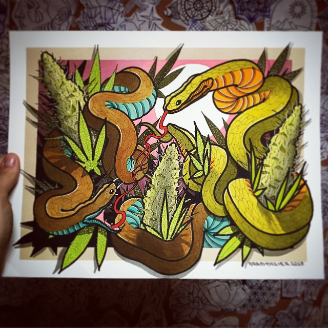 Snake and Weed Tattoo design