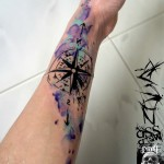 Watercolor Compass Nautical Arm tattoo