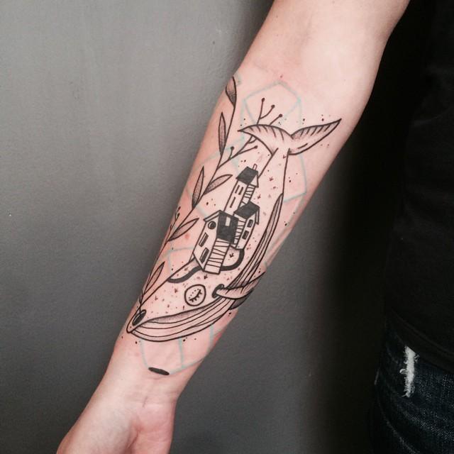 Whale Town Arm tattoo