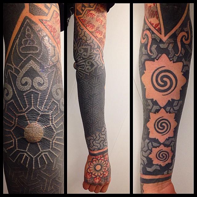 White on Black Sleeve tattoo