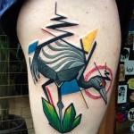 Angled Crane Hip tattoo