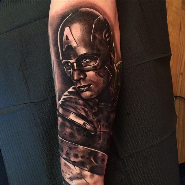 Arm Captain America tattoo
