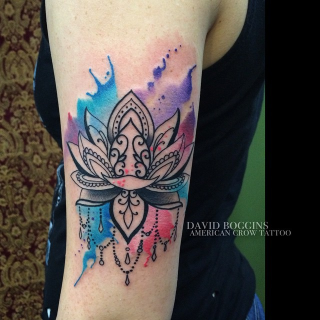 Blackwork Lily Watercolor tattoo on Arm