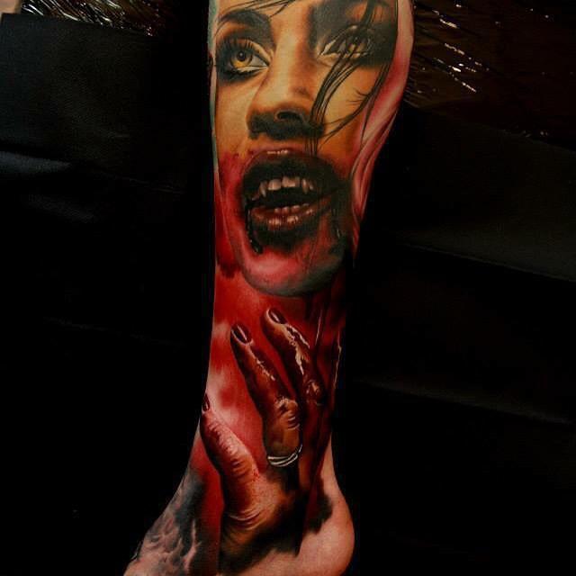 Bloody Hands Girl Vampire tattoo