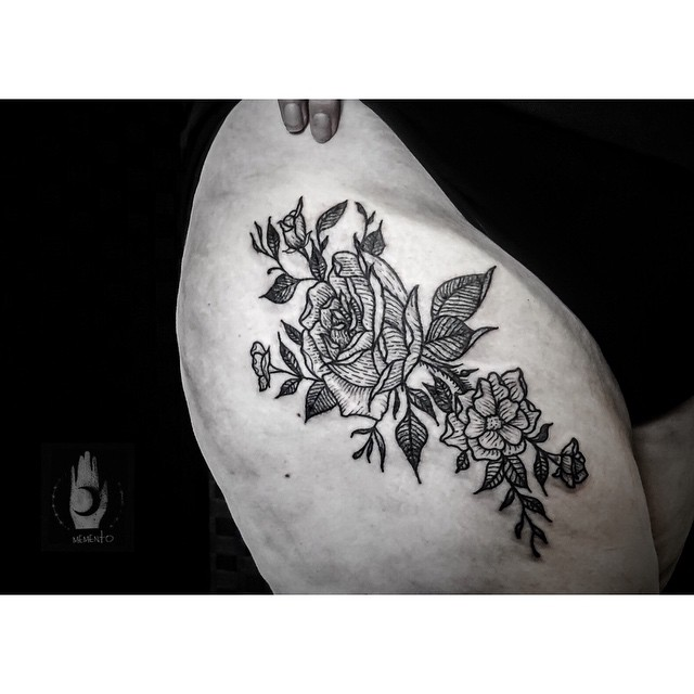 Bush of Roses Hip tattoo