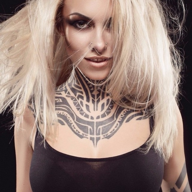 Cool Neck Tribal tattoo for Girl
