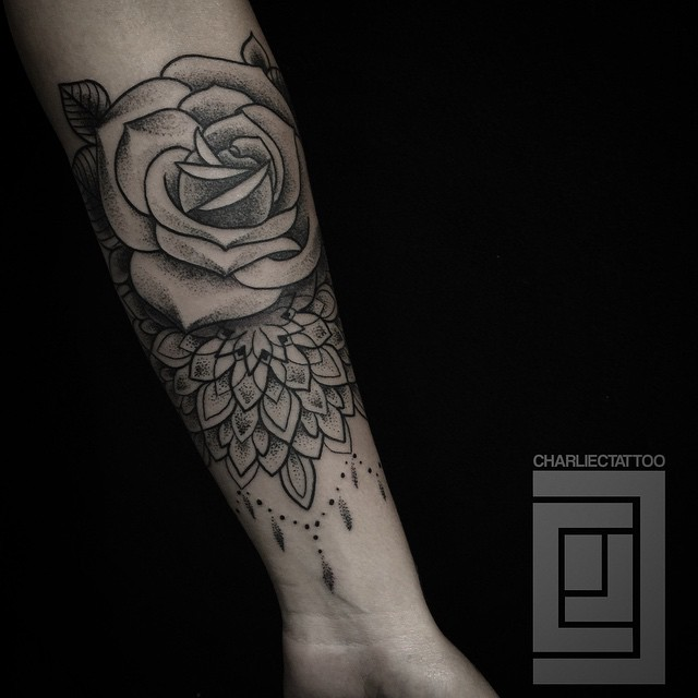 Dotwork Rose Baroque tattoo