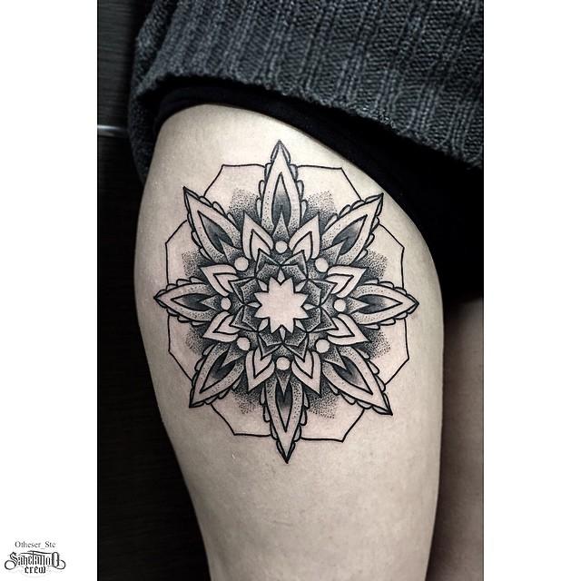 Dotwortk Snowflake tattoo on Thigh