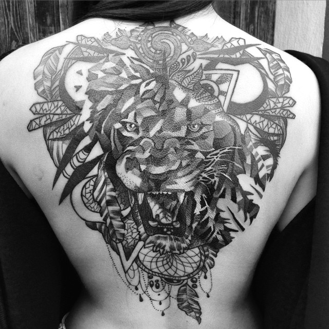Dream Catcher Lion tattoo on Back