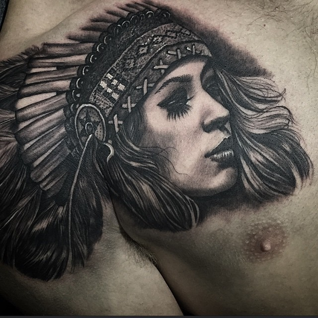 Feather Hair Graphic Girl Indian tattoo