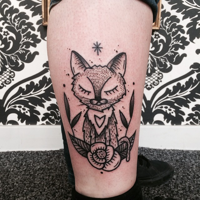 Flower Sleepy Kitty tattoo