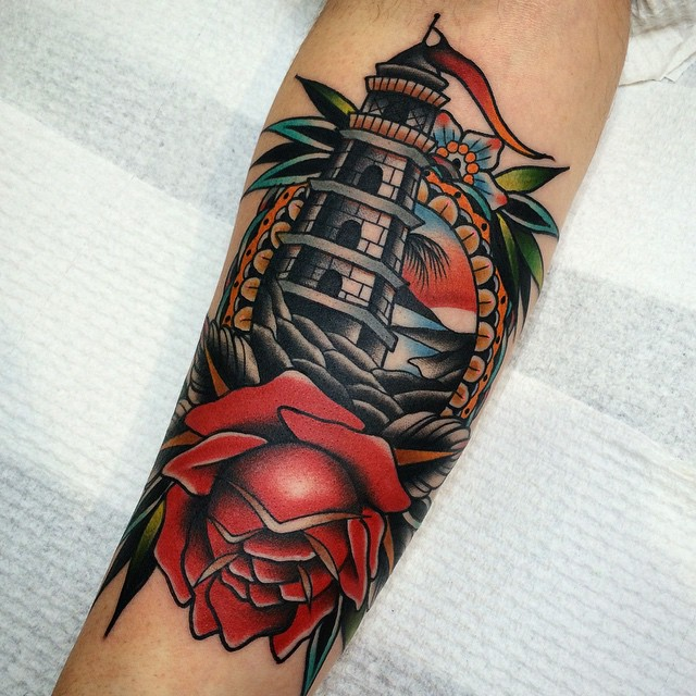 Flower and Lighthouse in Frame Nautical tattoo