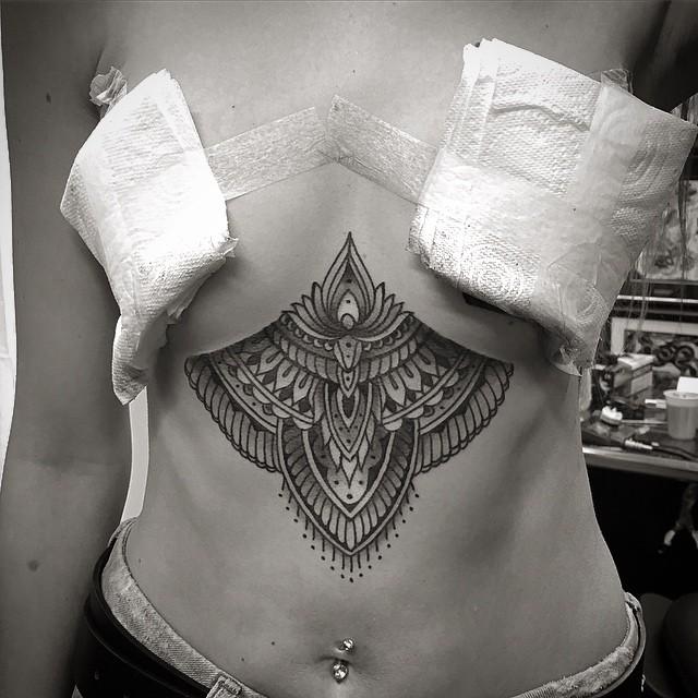 Girl Mehendi Tattoo on Stomach