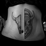 Half Skull Half Buffalo tattoo